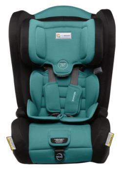 Blue and Black Infasecure Emerge Aqua child car seat. Built in headrest and infant padding visible