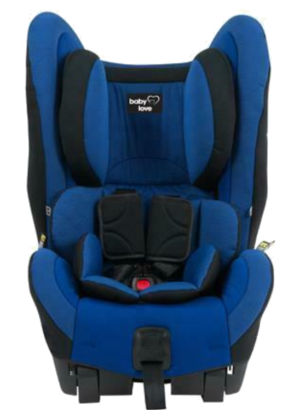 Blue Babylove Ezyswitch car seat with built in headrest and infant padding