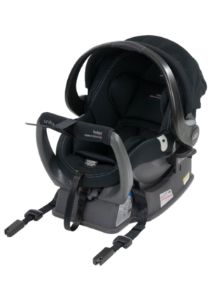 Britax Unity Capsule with isofix adaptors. Handle is in the upright position and capsule is sitting in the base
