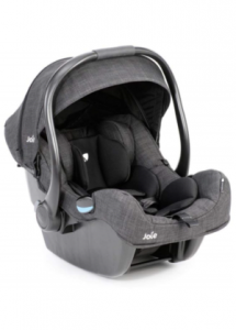 grey Joie I-Gemm Baby Capsule. Handle in upright position. Infant inserts visible
