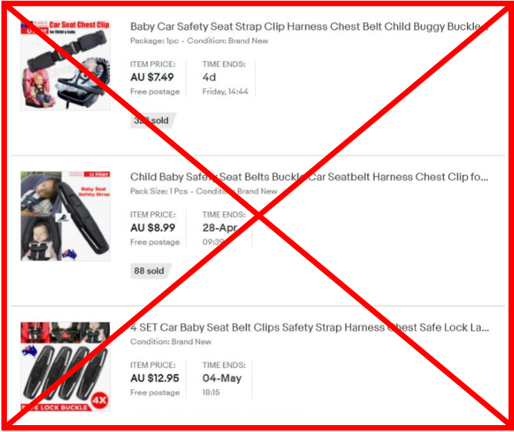 Demonstration of unsafe chest clip Australia example with large red cross over the image