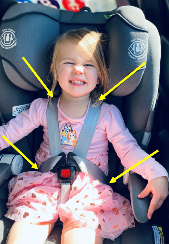 child sitting in a grey car seat with arms in the car seat harness. Yellow arrows point to the part of the body correctly restrained by the harness straps indicating the dangers of kids escaping their harness in a car seat